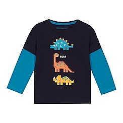 bluezoo - Boys' navy dino print mock long sleeve t-shirt