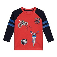bluezoo - 'Boys' red motorbike print mock sleeve top