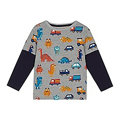 bluezoo - Boys' grey dino print mock long sleeve t-shirt