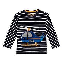 bluezoo - Boys' navy stripe print helicopter applique top