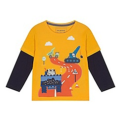 bluezoo - Boys' yellow digger print mock long sleeve t-shirt