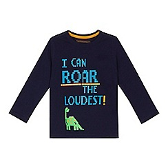 bluezoo - Boys' navy 'Roar the loudest' slogan print t-shirt