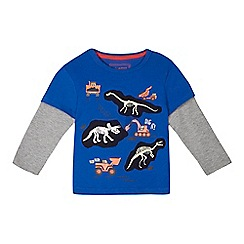 bluezoo - Boys' blue dino print mock long sleeve t-shirt