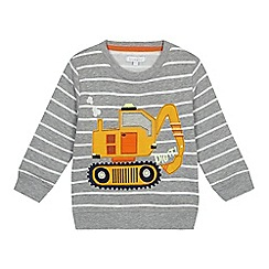 bluezoo - Boys' grey striped light up digger applique sweatshirt