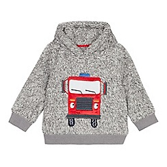 bluezoo - Boys' grey fleece fire truck applique hoodie