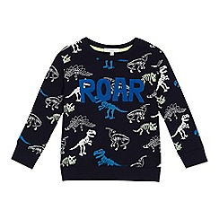 bluezoo - Boys' navy skeleton dinosaur print sweater