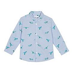 bluezoo - Boys' Pale Blue Dinosaur Print Long Sleeve Oxford Shirt