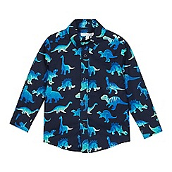 bluezoo - Boys' Navy Dinosaur Print Long Sleeve Cotton Shirt