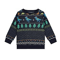 bluezoo - Boys' Navy Dinosaur Fair Isle Christmas Sweat Top