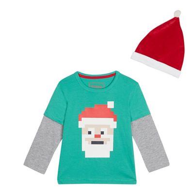 bluezoo - Boys  Green  Santa  Textured Mock Top and Hat Set 9c81b4477def