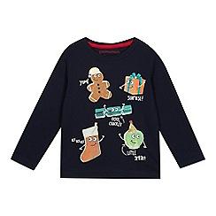 bluezoo - Boys' Navy Christmas Print Long Sleeve T-Shirt