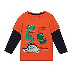 bluezoo - Boys' Bright Orange Dinosaur Applique Top