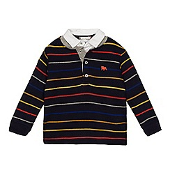 J by Jasper Conran - 'Boys' navy knitted mockable polo shirt