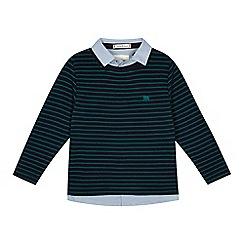 J by Jasper Conran - 'Boys' green textured striped mock jumper