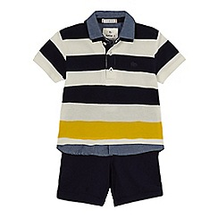 J by Jasper Conran - 'Boys' multi-coloured striped print rugby shirt and shorts set