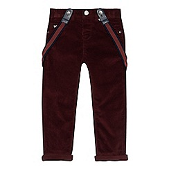 J by Jasper Conran - Boys' maroon cord trousers with braces