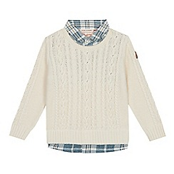 Mantaray - Baby Boys' Cream Cable Knit Mock Shirt Jumper
