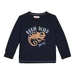 Mantaray - Boys' navy cork gecko print t-shirt