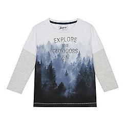 Mantaray - Boys' grey 'Explore the outdoors' print mock top