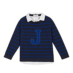 J by Jasper Conran - Boys' navy striped mockable sweater