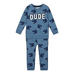 bluezoo - Boys' Blue Dinosaur Print Sweatshirt and Jogging Bottoms Set