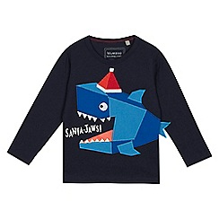 bluezoo - Boys' navy 'Santa-Jaws' applique top