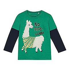 bluezoo - Boys' green borg llama applique top