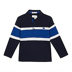 J by Jasper Conran - Boys' Navy Striped Yoke Polo Shirt