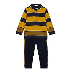 J by Jasper Conran - Boys' Yellow Striped Polo Shirt and Jogging Bottoms Set