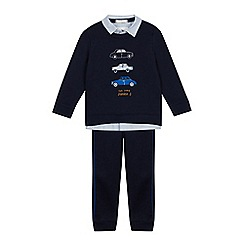 J by Jasper Conran - Boys' Navy Car Applique Mock Top and Bottoms Set