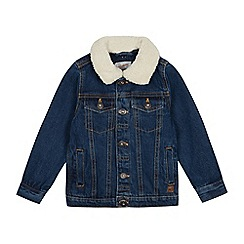 Mantaray - Boys' Mid Blue Borg Collar Denim Jacket