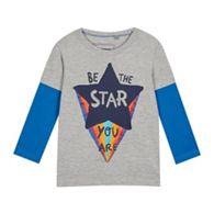 bluezoo - Boys  Grey  Be The Star  Mock Sleeve Top f0e4c65004c5
