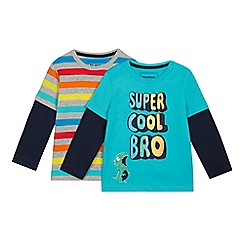 bluezoo - 2 Pack Boys' Multicoloured Printed Mock Tops