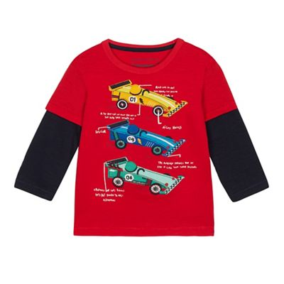 ab986648055d bluezoo - Boys  Red Race Car Applique Top