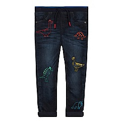 bluezoo - Boys' Mid Blue Dinosaur Embroidered Jeans