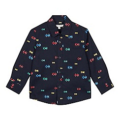bluezoo - Boys' navy car print long sleeve shirt