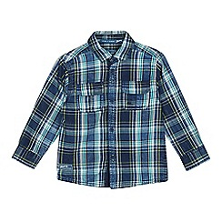 Mantaray - Boys' Blue Checked Long Sleeve Shirt