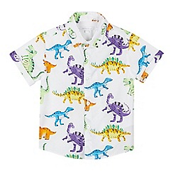 bluezoo - Boys' White Dinosaur Print Cotton Short Sleeve Shirt