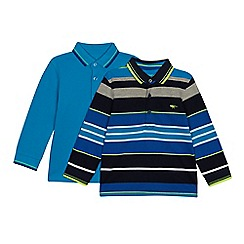 bluezoo - 2 Pack Boys' Blue Striped and Plain Polo Shirts