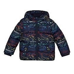 bluezoo - Boys' Navy Padded Dinosaur Print Shower Resistant Coat