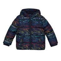 bluezoo - Boys  Navy Padded Dinosaur Print Shower Resistant Coat 364daf90da60