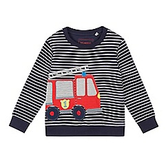 bluezoo - Boys' Navy Striped Fire Engine Applique Sweatshirt