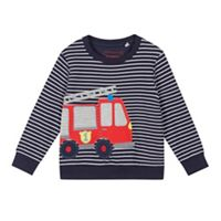 ccf23ecd9efa bluezoo - Boys  Navy Striped Fire Engine Applique Sweatshirt