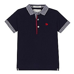 J by Jasper Conran - 'Boys' navy gingham print trim polo shirt