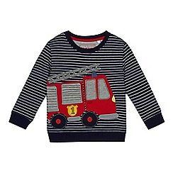 bluezoo - Boys' navy stripe fire engine applique sweatshirt