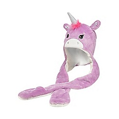 bluezoo - Girls' lilac unicorn hat scarf