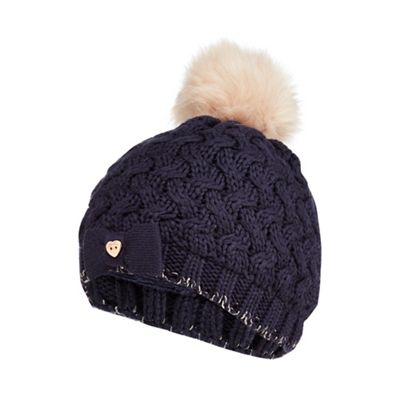 Baker by Ted Baker - Girls  navy knitted faux fur pom pom hat 3bfa8428207