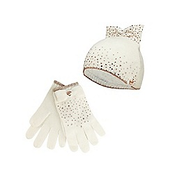 Baker by Ted Baker - Girls' cream wool blend diamante hat and gloves set