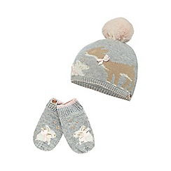 Baker by Ted Baker - Girls' grey deer and bunny beanie hat and mittens set with cashmere