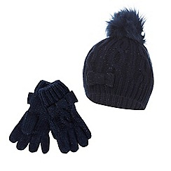 J by Jasper Conran - Girls' navy pom pom beanie and gloves set